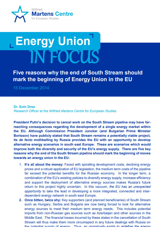 European Energy Union: Why the end of South Stream should mark its beginning