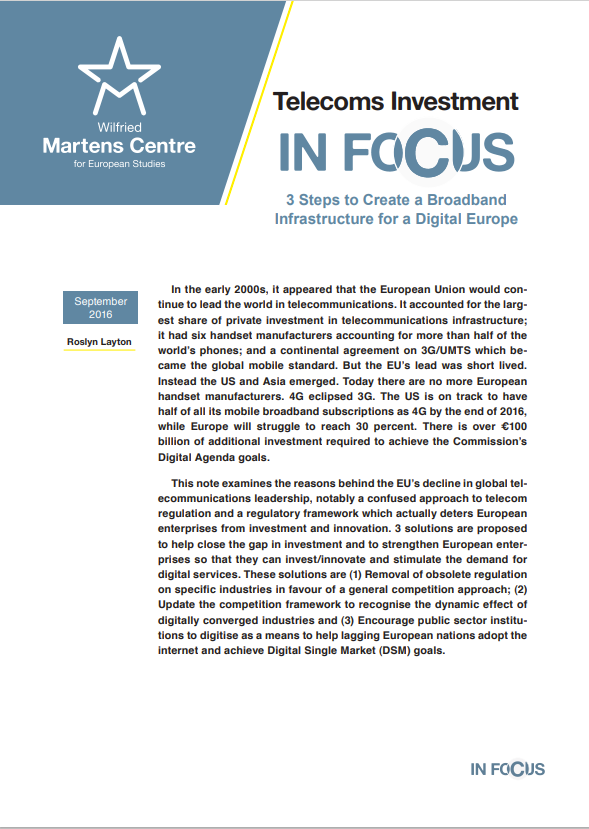 Telecoms Investment: 3 Steps to Create a Broadband Infrastructure for a Digital Europe