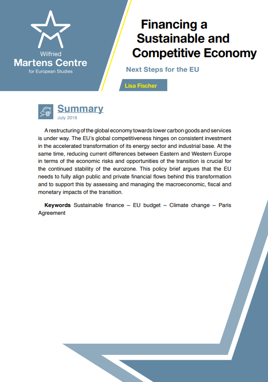 Financing a Sustainable and Competitive Economy: Next Steps for the EU