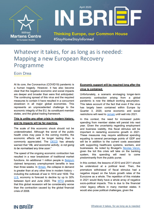 Whatever it takes, for as long as is needed: Mapping a new European Recovery Programme