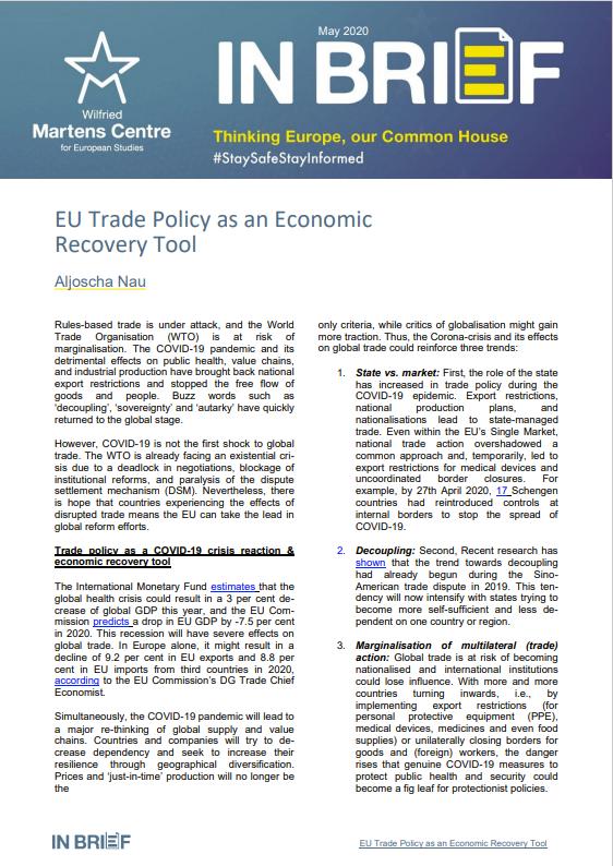 EU Trade Policy as an Economic Recovery Tool