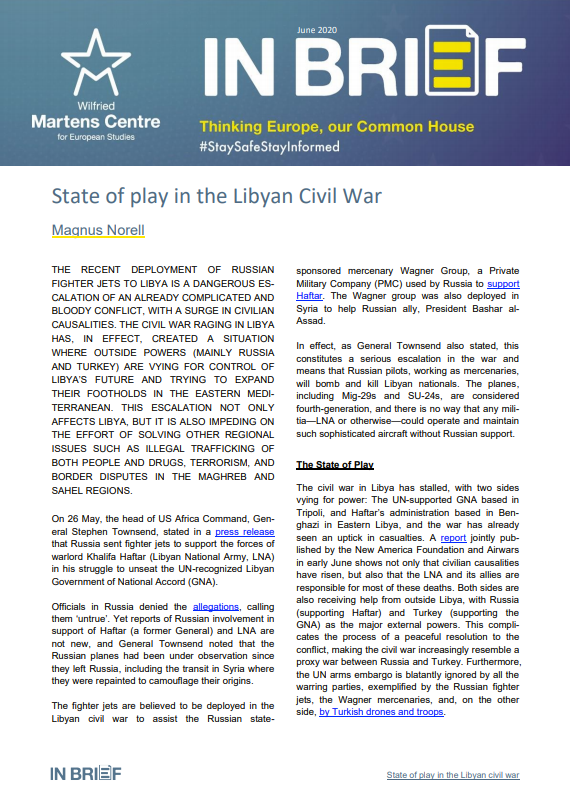 State of play in the Libyan Civil War
