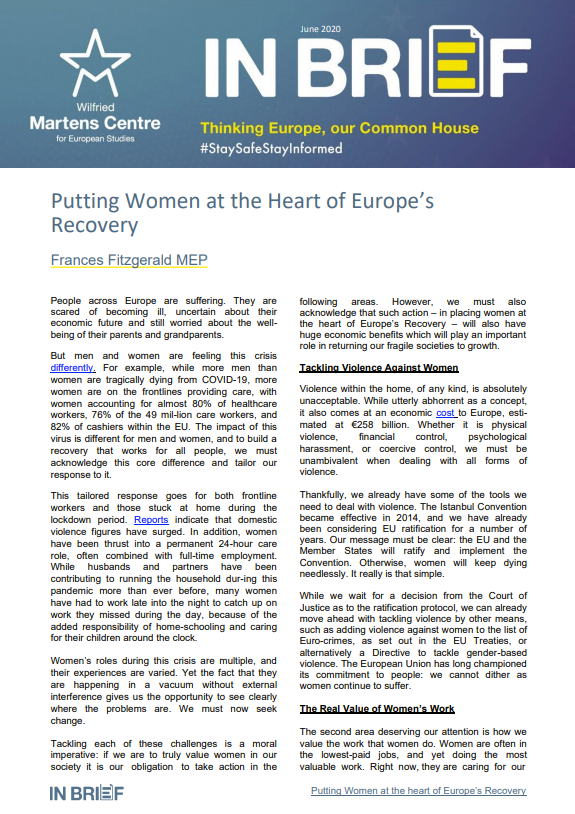 Putting Women at the Heart of Europe's Recovery