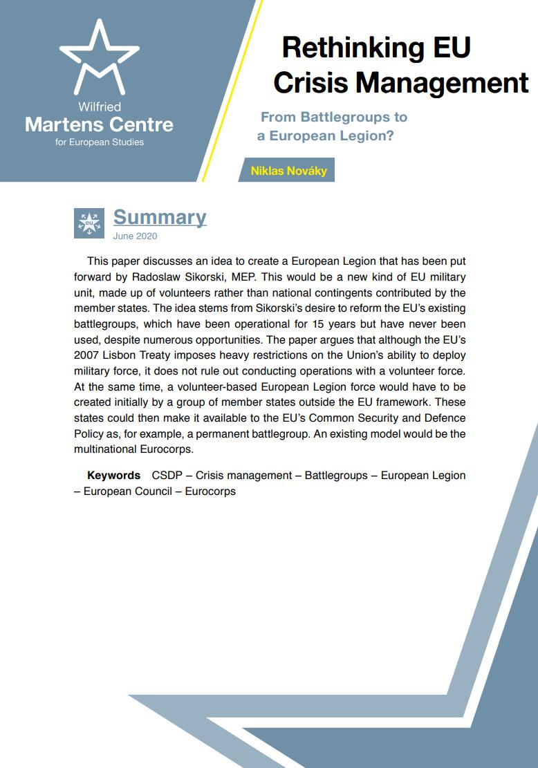 Rethinking EU Crisis Management – From Battlegroups to a European Legion?