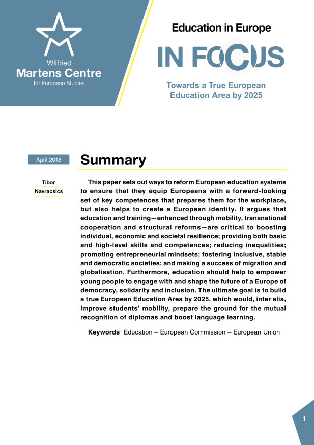 Education in Europe: Towards a True Education Area by 2025