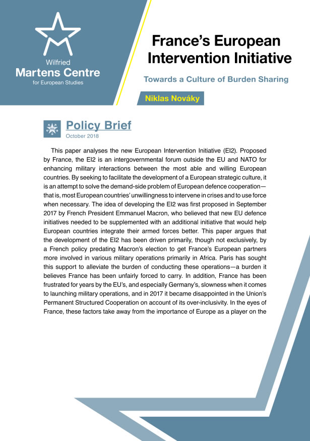 France's European Intervention Initiative: Towards a Culture of Burden Sharing