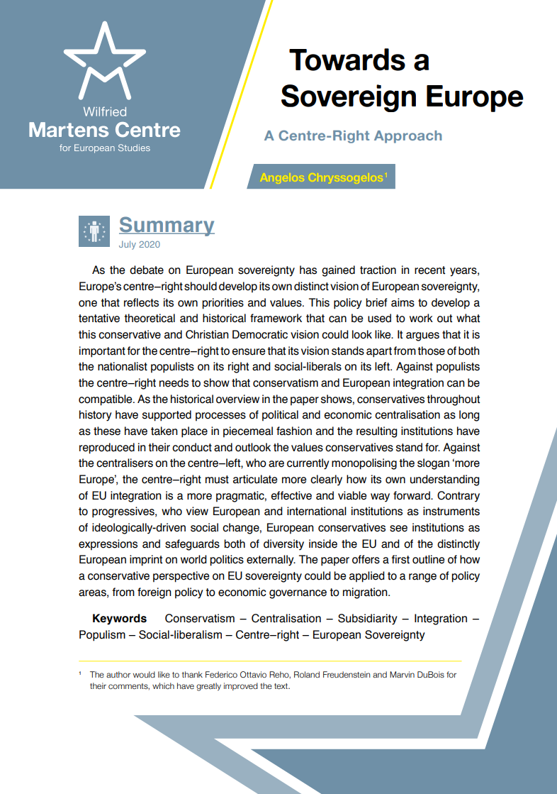 Towards a Sovereign Europe – A Centre-Right Approach