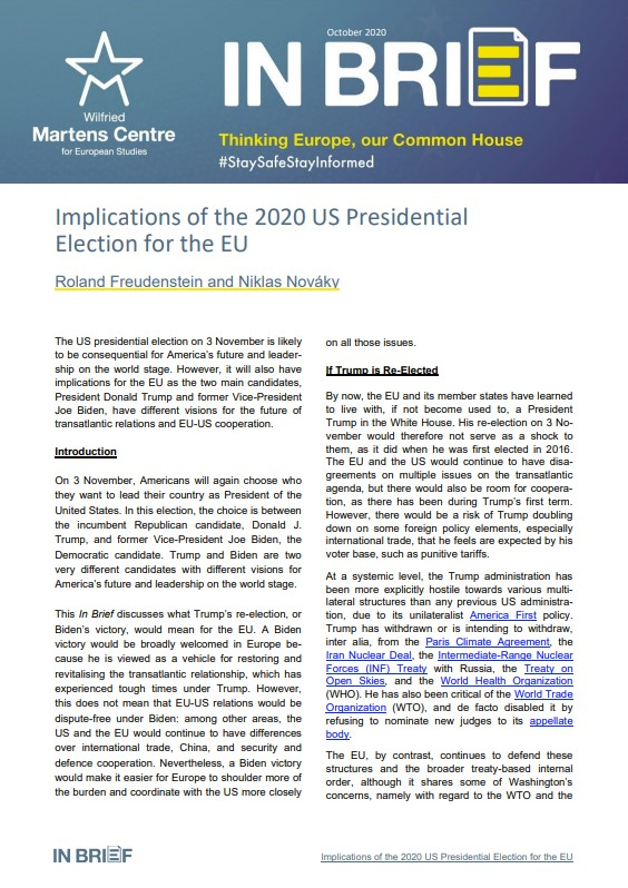 Implications of the 2020 US Presidential Election for the EU
