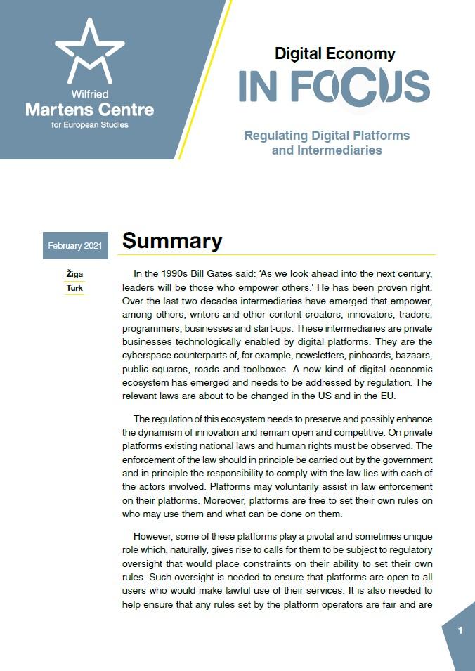 Digital Economy: Regulating Digital Platforms and Intermediaries