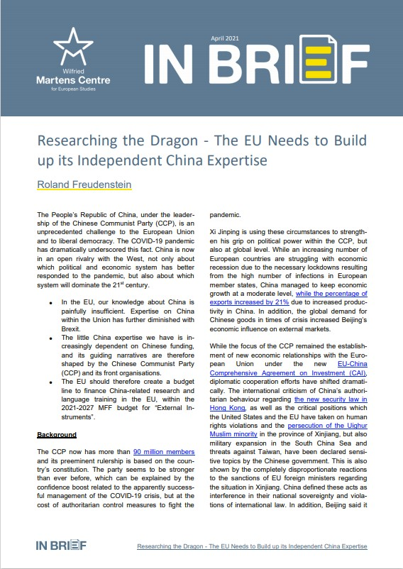 Researching the Dragon – The EU Needs to Build up its Independent China Expertise
